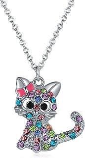 Collana di gattini-collana bambina,collana di cristallo, ciondolo di ragazza carina in lega, regalo di festa per ragazza, ...