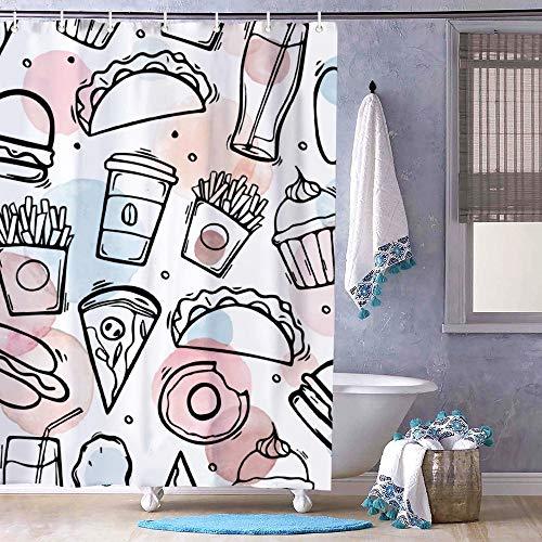Duschvorhang mit Pizza-Hamburger-Chips & Pommes Frites Design – geruchloses Dekor Badezimmer Liner – Stoff Badvorhang für Badezimmer Duschkabine, Badewannen, wasserdichter Vorhang Liner 183 x 183 cm