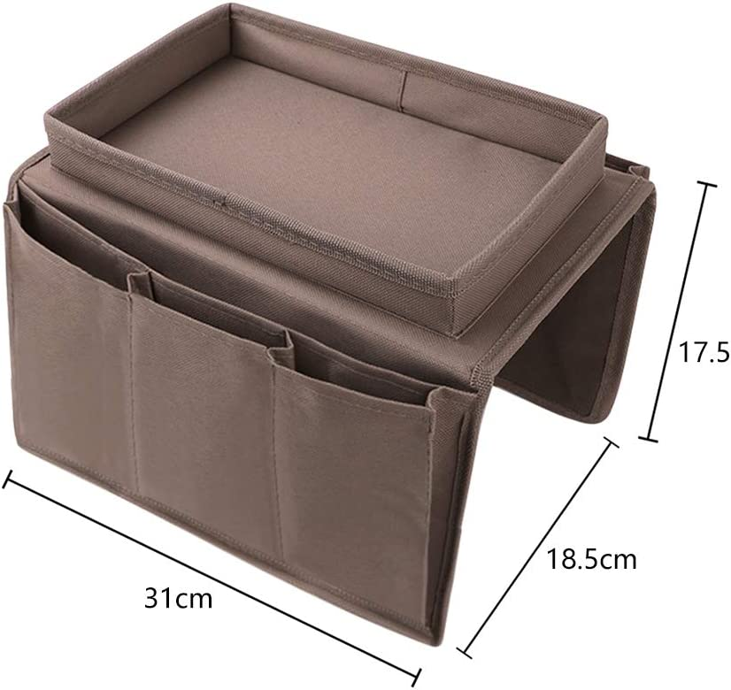 Arm Rest Organizer 6 Pocket Hanging Sofa Storage Bag Cup Mug Holder Tray Armchairs Couch Caddy Organizer TV Remote Control Phone Drink Board Foldable Chair Tidy Table Space Saver Set Home Companion