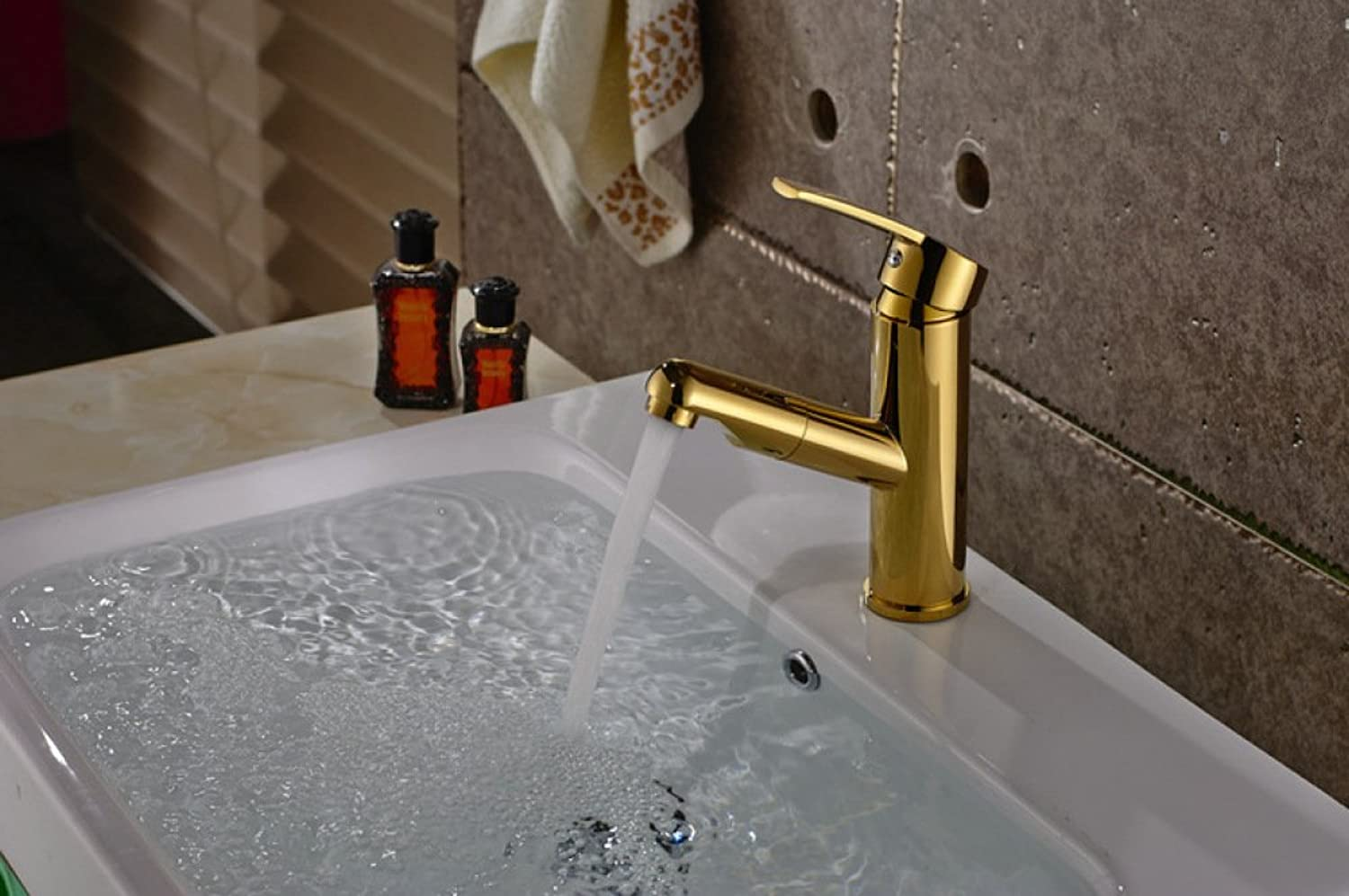 GZF Bathroom Sink Taps Faucet pull faucet full copper hot and cold telescopic basin heightening faucet washbasin washbasin faucet mixing faucet washbasin faucet