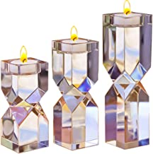 Le Sens Amazing Home Large Crystal Candle Holders Set of 3, 4.6/6.2/7.7 inches Height, Elegant Heavy Solid Square Diamond Cut Tealight Holders Sets, Centerpieces for Home Decor and Wedding
