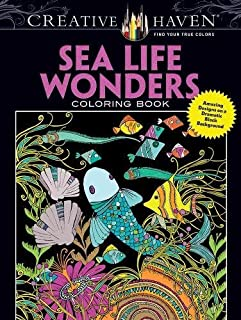 Creative Haven Sea Life Wonders Coloring Book: Amazing Designs on a Dramatic Black Background (Creative Haven Coloring Books)