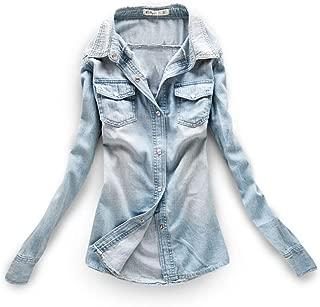 AvaCostume Women's Long Sleeve Double Pocket Slim-fit Jean Denim Shirt