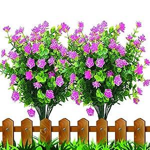Silk Flower Arrangements JEMONG Artificial Flowers, 8 Bundles Fake Outdoor UV Resistant Plants Faux Plastic Greenery Shrubs Indoor Outside Hanging Planter Home Garden Decorating(Pink)
