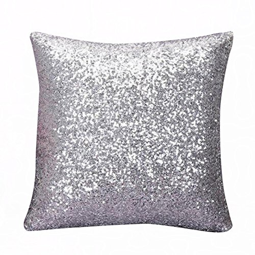 KariNao Funda de cojín cuadrada, de un solo color, con lentejuelas, para decorar el sofá o el coche, color plateado