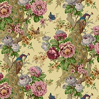 Dollhouse Wallpaper Vintage Peacock and Rose by Bradbury and Bradbury