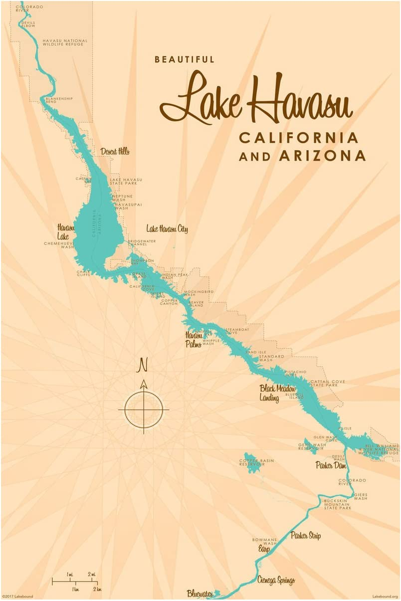 Lake Havasu California Ranking TOP6 Weekly update Arizona Map Art Print Giclee Poster by