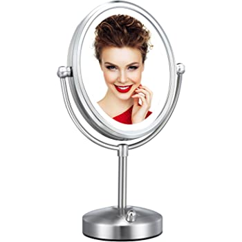 Professional 8'' Lighted Makeup Mirror, VESAUR Oval 7X Magnifying LED Vanity Mirror with 28 Dimmable SMDs (High up to 1100lux), Pearl Nickel Cosmetic Mirror, Desk Lamp Night Light Alternative, 2 Sided