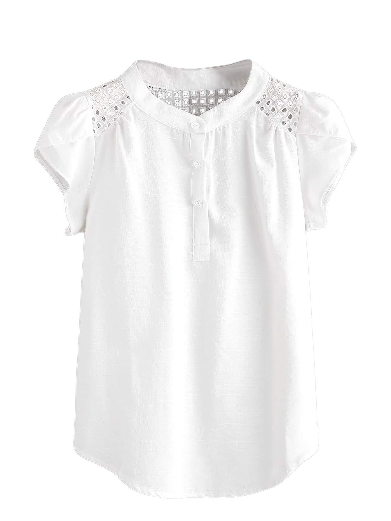 Shein 女式短袖孔眼弧形下摆纽扣工作衬衫上衣 Henley 衬衫