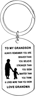 Inspirational Gifts For Teen Boys Always Remember You Are Braver Than You Believe Keychain Grandson gifts