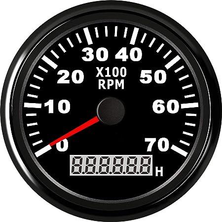 Kus Drehzahlmesser Mit Digitalem Betriebsstundenzähler 7000rpm Für Aussenborder Schwarzes Display Mit Edelstahl Lünette Auto