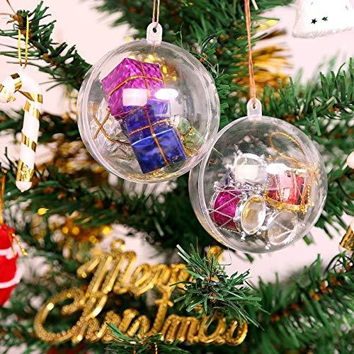Uten 20pcs Christmas Baubles Christmas Tree Decorations Clear Plastic Balls DIY Wedding Party Decor(100mm)