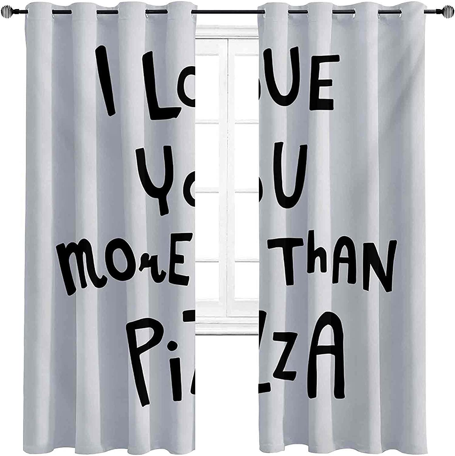 Blackout Funny Words Curtain Ranking TOP6 Love More Than Pizza You Romantic Austin Mall