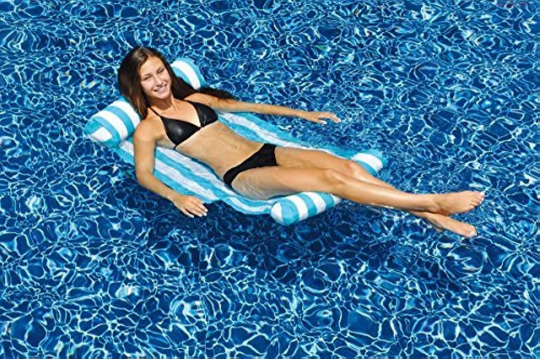 Swim Central 48 Water Sports Inflatable Blau and Weiß Striped Hammock Swimming Pool Raft