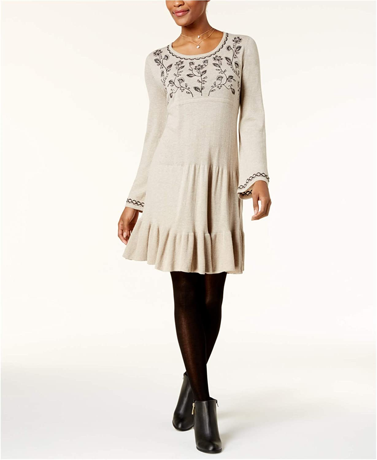 Style&Co. Womens Embroidered Sweater Dress