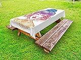 ABAKUHAUS Tätowieren Outdoor-Tischdecke, Inked Frauen-Weinlese Haarknoten, dekorative waschbare Picknick-Tischdecke, 145 x 210 cm, Mehrfarbig