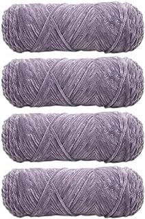 4 Skeins Chenille Yarn, Hand Knitting Glossy Chenille Velvet Blanket Yarn for Crochet Weaving DIY Craft Total 400g (Pink P...