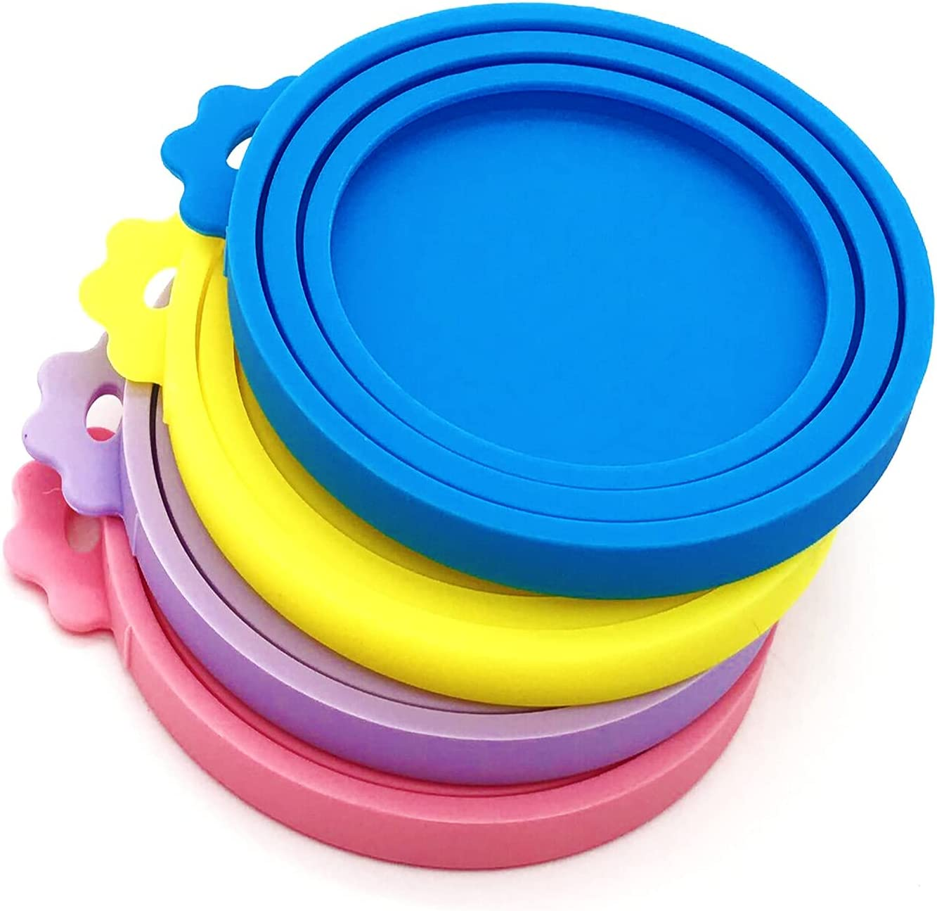 MYYZMY 4 Pcs Pet Can Covers,Food Can Lids, Universal BPA Free Silicone Can Lids Covers for Dog and Cat Food, One Can Cap Fit Most Standard Size Canned Dog Cat Food