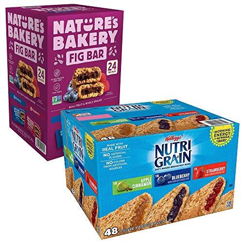 Cyber Sweetz Nature's Bakery Fig Bar & Nutri Grain Soft Baked Breakfast Bars Variety Bundle, 24 Nature's Bakery Fig Bars (48 oz), 48 Nutri Grain Soft Baked Breakfast Bars (62.4 oz), 72 total