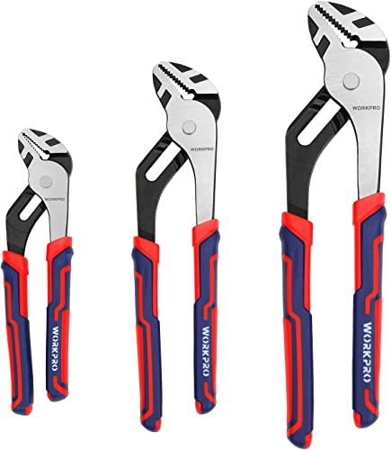high quality WORKPRO discount 3 Piece Groove Joint Pliers Set, 12/10/8 Inch Adjustable Water Pump Pliers, Straight Jaw Pliers in CRV lowest Steel for Home Repair, Gripping, Nuts, Bolts, Pipe & Fittings sale