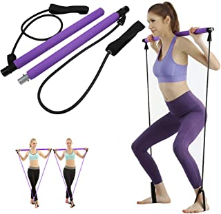 Outamateur Pilates Exercise Resistance Band Pilates Bar Kit with Resistance Band, Portable Home Gym Workout Kit with Foot ...