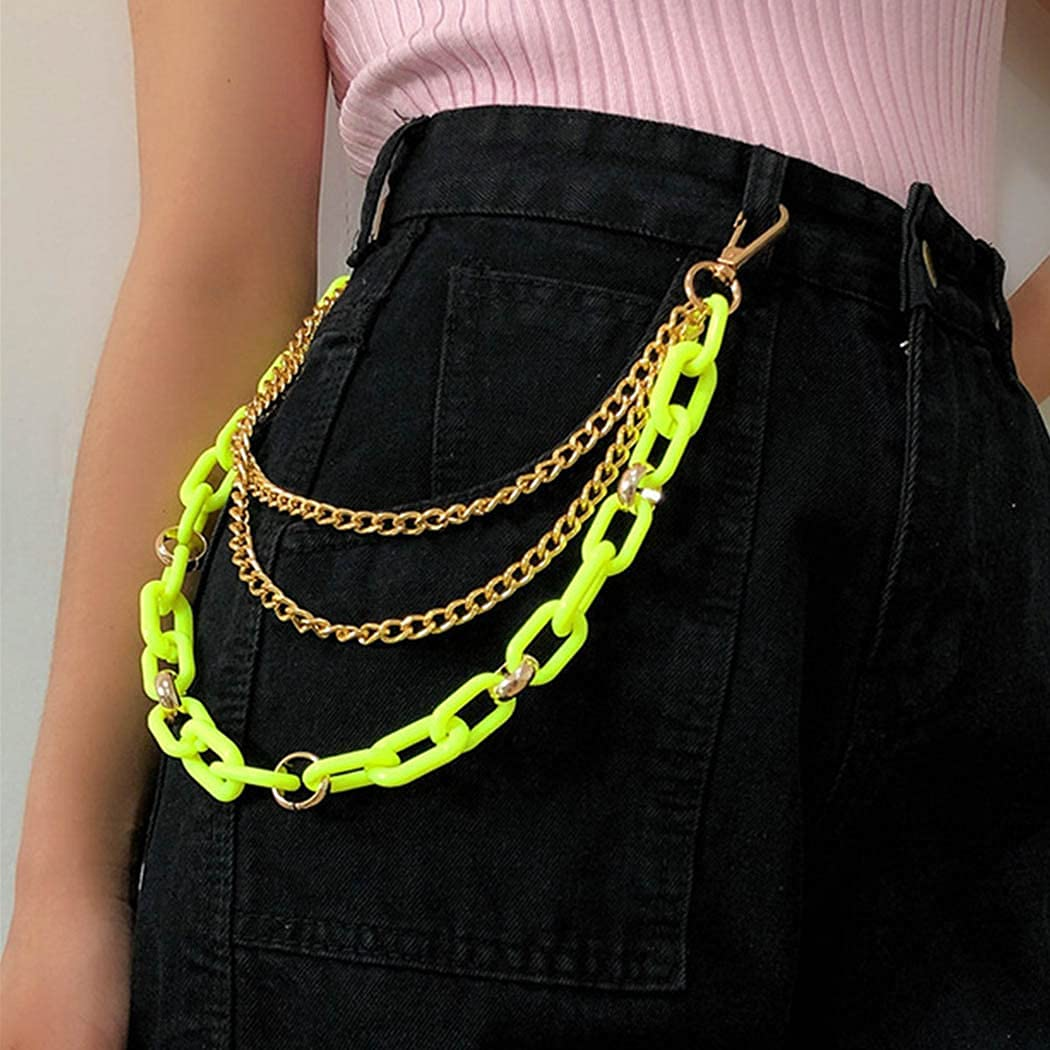 GENBREE Punk Layered Jeans Chains Hip Hop Pant Chains Paperclip Trousers Chain Acrylic Gothic Pocket Waist Chain for Women and Girls (C)