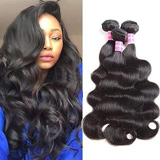 10A Brazilian Body Wave 3 Bundles 14 12 10 100%Body Wave Human Hair Bundles Weave Hair Human Bundles Remy Human Hair Extensions Natural Black Color Total 300g