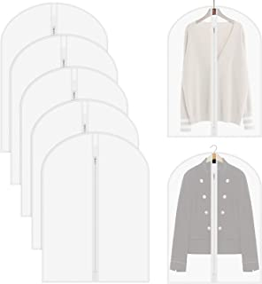 ShawFly Lot de 5 Housses de vêtements Sac avec Fermeture éclair, Sac de Costume Transparent, Sac de Rangement étanche à la...