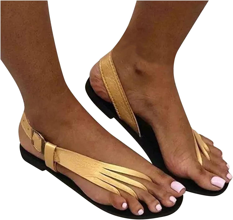 VISLINDU Women Sandals, Women's 2021 Fashion Clip Toe Flat Sandal Summer Flip Flops Slippers Ladies Beach Travel Shoes