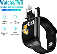 Smart Watch with Bluetooth Wireless Earbuds,Bluetooth Wireless Headset Smart Bracelet 2 in 1, Touch Screen Sports Sleep Music Wristband Headphones Heart Rate Blood Pressure Exercise Weather Tracker