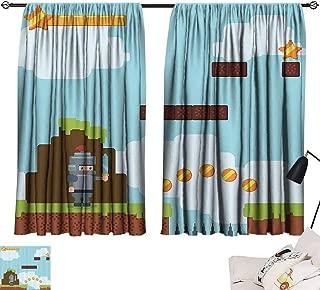 SEMZUXCVO Sliding Curtains Video Games Retro Arcade World Kids 90s Fun Theme Knight with Sword Fireball Bonus Stars Coins Durable W63 x L72 Multicolor