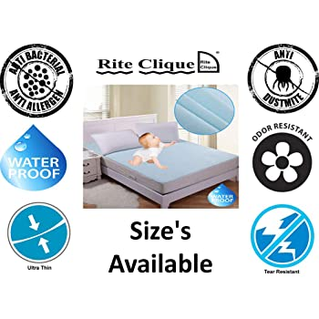 Rite Clique Babycare Cotton Waterproof Mattress Protector Double Bed King Size Cover (Blue, 72x78 Inch)