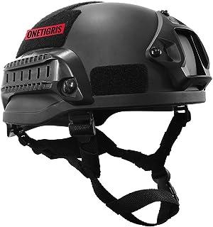 OneTigris アウトドア エアソフトヘルメット米軍風 MICH 2002多機能サバゲーヘルメット マウントレール付き ABS製 かっこいいヘルメット オリジナル ブラック