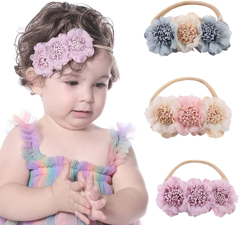 Wiwpar Gauze Flower Crown Headband Flower Headwear Hair Bands Elastic Head Piece Girl's Hairbands for Toddler and Childrens (Purple)