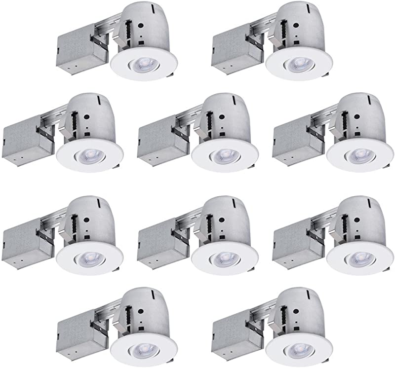 Globe Electric 90540 4 Swivel Round Trim Recessed Lighting Kit 10 Pack White Easy Install Push N Click Clips 3 88 Hole Size