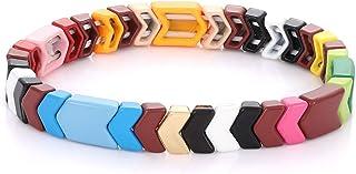 Boderier Tile Bracelet Enamel Rainbow Chevron Tile Bead Bracelet Stackable Stretchy Bracelet Jewelry