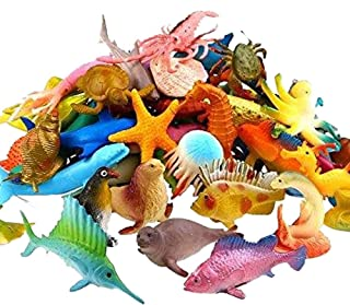 Kicko Ocean Animals 2.25 Inches - Pack of 90 - Assorted Ocean Figures Aquatic Animal Toys – for Kids Great Party Favors, Bag Stuffers, Fun, Toy, Gift, Prize