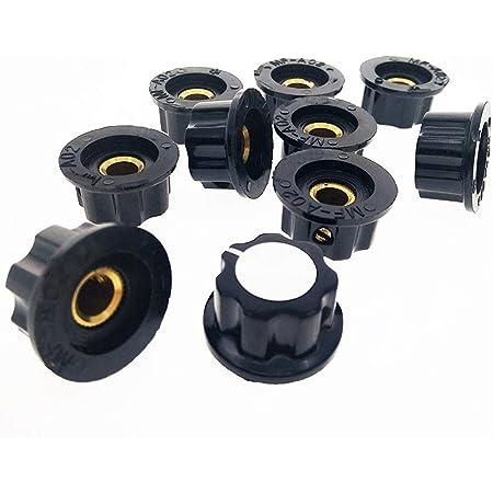 10 Pcs Black Plastic Potentiometer Rotary Control Knobs Caps for 6mm Dia SNWlu
