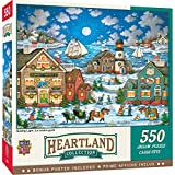 A cold crisp moonlit evening as the town gets last moment shopping done 550 Puzzle Pieces Finished 18 inch x 24 inch Artwork by popular puzzle artist Bonnie White Thick recycled puzzle board and random cut pieces ensure a tight interlocking fit and c...