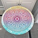 Mantel Antimanchas Redondo, Chickwin Impresión de Mandala Mantel de Mesa Impermeable Diseño de Borde Elástico, Mantel Redondo para Comedor, Cocina y Picnic (Degradado de Color,150cm)