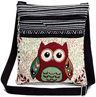 Embroidered Owl Tote Bags Women Handbags Postman Package Knapsack by-NEWONESUN