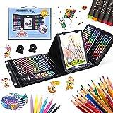 CALISTOUK 208 Pcs Caballete Pintura Niños, Estuche Colores niños, Kit de Pintura niños, Acuarela Lápiz Niños Dibujo Kit de Artista Lápices de Colores, Papelería, Caballete de Doble Cara