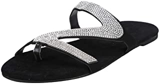 UULIKE Chaussons Paillettes Tongs Strass Pantoufles Plage Femme Sandales Plates Ete Chaussons Rome Flip Flop Sexy Slippers...
