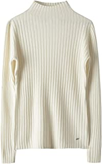 织礼 Zhili Women's Fall/Winter Knit Stripes Mock Neck Slim Fit Merino Wool Sweater(5 Colors)