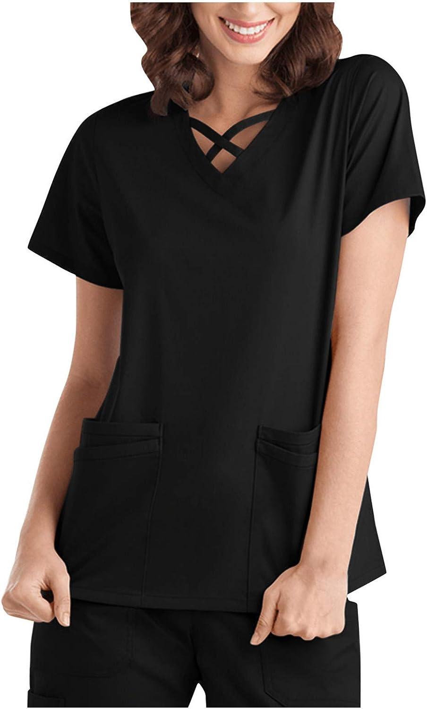 Womens T-Shirt Working Uniform Fashion Short Sleeve V-Neck Nurse Workwear Shirt Blouse Tops with Pocket