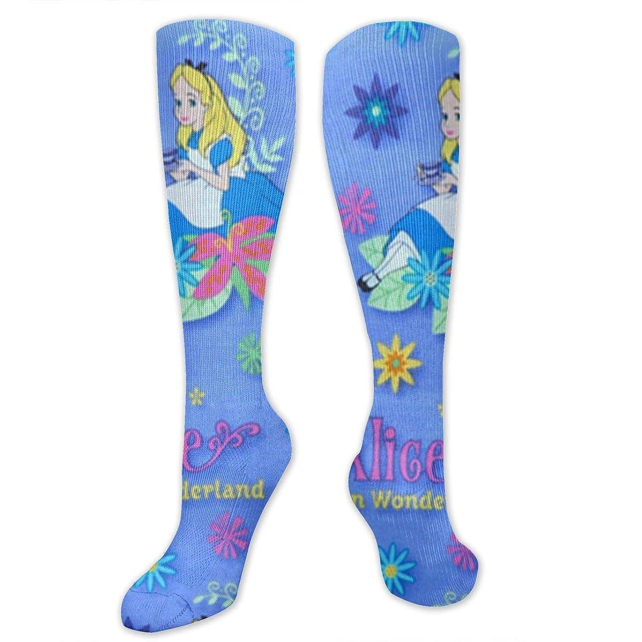 反発本当にダニ靴下,ストッキング,野生のジョーカー,実際,秋の本質,冬必須,サマーウェア&RBXAA Women's Winter Cotton Long Tube Socks Knee High Graduated Compression Socks Alice in Wonderland Socks