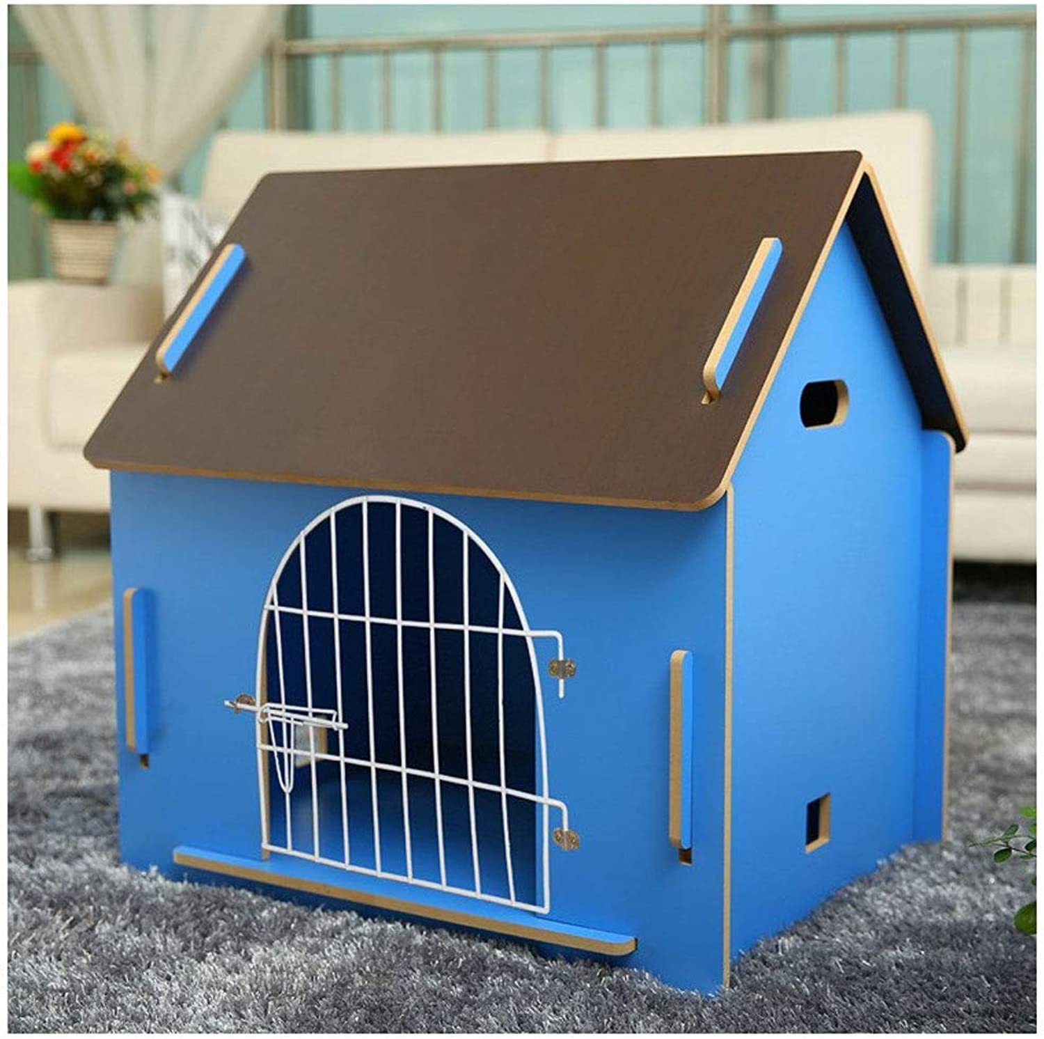 ATR Removable dog kennel made of wood, for pets has a home, bluee color (multistyle and multisize optional) (color  T r have, size  medium)