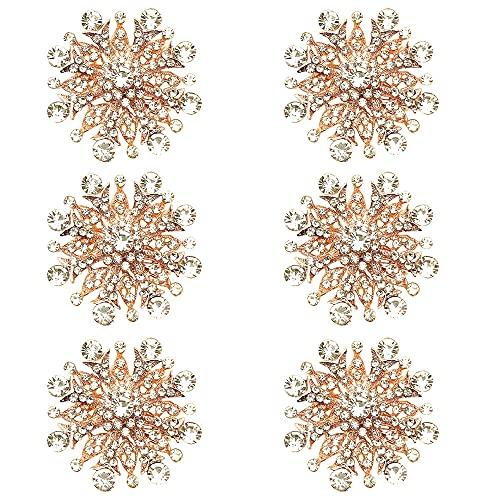 Juego de 6 servilletas de copo de nieve con cristales brillantes y diamantes, color oro rosa, para decoración de mesa