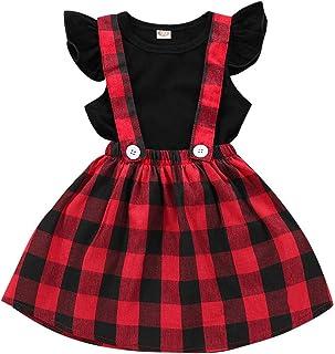 1bec01079 Niñas T-Shirt Correa Vestido Trajes de Navidad 2 Unids/Set Manga Larga con