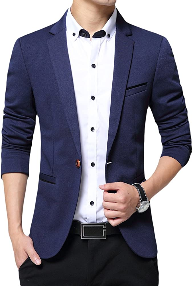 Blazer Homme Veste de Costume Slim Fit Un Bouton Veston Blazer Homme El/égant Formel pour Mariage Business Soir/ée
